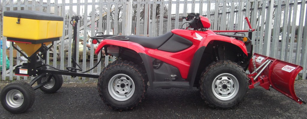 Honda TRX500 with Logic Snow Plough and SnowEx Salt Spreader